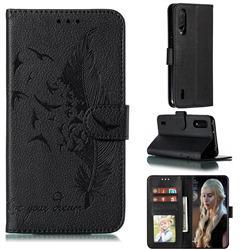 Intricate Embossing Lychee Feather Bird Leather Wallet Case for Xiaomi Mi CC9 (Mi CC9mt Meitu Edition) - Black