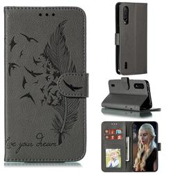 Intricate Embossing Lychee Feather Bird Leather Wallet Case for Xiaomi Mi CC9 (Mi CC9mt Meitu Edition) - Gray