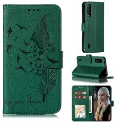 Intricate Embossing Lychee Feather Bird Leather Wallet Case for Xiaomi Mi CC9 (Mi CC9mt Meitu Edition) - Green