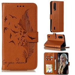 Intricate Embossing Lychee Feather Bird Leather Wallet Case for Xiaomi Mi CC9 (Mi CC9mt Meitu Edition) - Brown