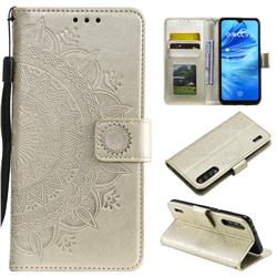 Intricate Embossing Datura Leather Wallet Case for Xiaomi Mi CC9 (Mi CC9mt Meitu Edition) - Golden