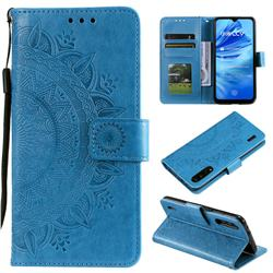 Intricate Embossing Datura Leather Wallet Case for Xiaomi Mi CC9 (Mi CC9mt Meitu Edition) - Blue