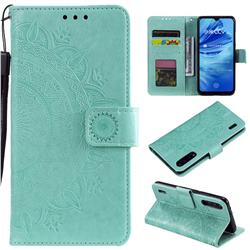 Intricate Embossing Datura Leather Wallet Case for Xiaomi Mi CC9 (Mi CC9mt Meitu Edition) - Mint Green
