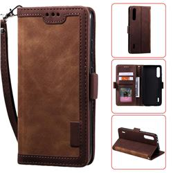 Luxury Retro Stitching Leather Wallet Phone Case for Xiaomi Mi CC9 (Mi CC9mt Meitu Edition) - Dark Brown