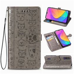Embossing Dog Paw Kitten and Puppy Leather Wallet Case for Xiaomi Mi CC9 (Mi CC9mt Meitu Edition) - Gray