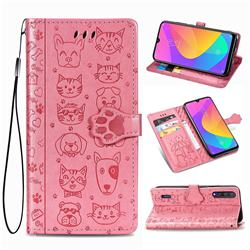 Embossing Dog Paw Kitten and Puppy Leather Wallet Case for Xiaomi Mi CC9 (Mi CC9mt Meitu Edition) - Pink