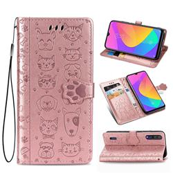 Embossing Dog Paw Kitten and Puppy Leather Wallet Case for Xiaomi Mi CC9 (Mi CC9mt Meitu Edition) - Rose Gold
