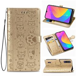 Embossing Dog Paw Kitten and Puppy Leather Wallet Case for Xiaomi Mi CC9 (Mi CC9mt Meitu Edition) - Champagne Gold