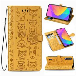 Embossing Dog Paw Kitten and Puppy Leather Wallet Case for Xiaomi Mi CC9 (Mi CC9mt Meitu Edition) - Yellow