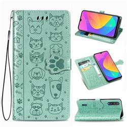 Embossing Dog Paw Kitten and Puppy Leather Wallet Case for Xiaomi Mi CC9 (Mi CC9mt Meitu Edition) - Green