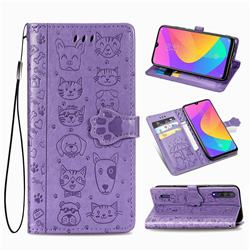 Embossing Dog Paw Kitten and Puppy Leather Wallet Case for Xiaomi Mi CC9 (Mi CC9mt Meitu Edition) - Purple