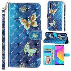 Rankine Butterfly 3D Leather Phone Holster Wallet Case for Xiaomi Mi CC9 (Mi CC9mt Meitu Edition)