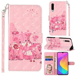 Pink Bear 3D Leather Phone Holster Wallet Case for Xiaomi Mi CC9 (Mi CC9mt Meitu Edition)