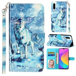 Snow Wolf 3D Leather Phone Holster Wallet Case for Xiaomi Mi CC9 (Mi CC9mt Meitu Edition)