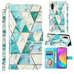 Stitching Marble 3D Leather Phone Holster Wallet Case for Xiaomi Mi CC9 (Mi CC9mt Meitu Edition)