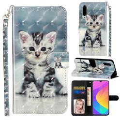 Kitten Cat 3D Leather Phone Holster Wallet Case for Xiaomi Mi CC9 (Mi CC9mt Meitu Edition)