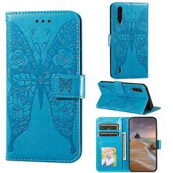 Intricate Embossing Rose Flower Butterfly Leather Wallet Case for Xiaomi Mi CC9 (Mi CC9mt Meitu Edition) - Blue