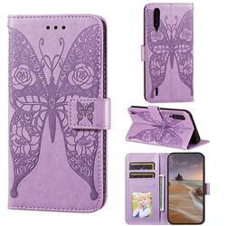 Intricate Embossing Rose Flower Butterfly Leather Wallet Case for Xiaomi Mi CC9 (Mi CC9mt Meitu Edition) - Purple