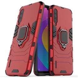 Black Panther Armor Metal Ring Grip Shockproof Dual Layer Rugged Hard Cover for Xiaomi Mi CC9e - Red