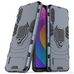 Black Panther Armor Metal Ring Grip Shockproof Dual Layer Rugged Hard Cover for Xiaomi Mi CC9e - Blue