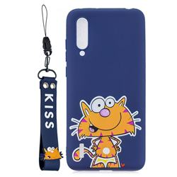 Blue Cute Cat Soft Kiss Candy Hand Strap Silicone Case for Xiaomi Mi CC9e