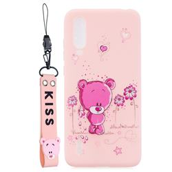 Pink Flower Bear Soft Kiss Candy Hand Strap Silicone Case for Xiaomi Mi CC9e