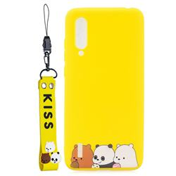 Yellow Bear Family Soft Kiss Candy Hand Strap Silicone Case for Xiaomi Mi CC9e