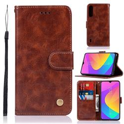 Luxury Retro Leather Wallet Case for Xiaomi Mi CC9e - Brown