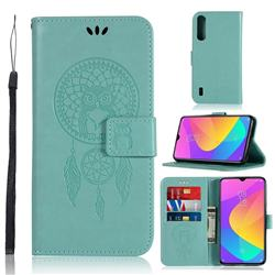 Intricate Embossing Owl Campanula Leather Wallet Case for Xiaomi Mi CC9e - Green
