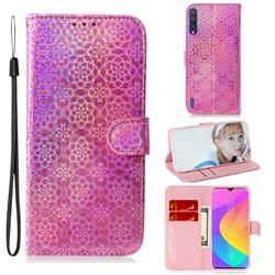 Laser Circle Shining Leather Wallet Phone Case for Xiaomi Mi CC9e - Pink