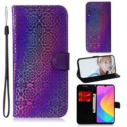 Laser Circle Shining Leather Wallet Phone Case for Xiaomi Mi CC9e - Purple