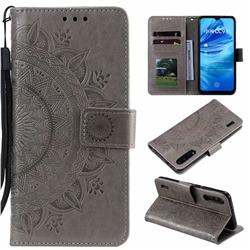 Intricate Embossing Datura Leather Wallet Case for Xiaomi Mi CC9e - Gray