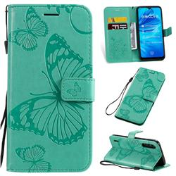 Embossing 3D Butterfly Leather Wallet Case for Xiaomi Mi CC9e - Green