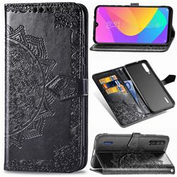 Embossing Imprint Mandala Flower Leather Wallet Case for Xiaomi Mi CC9e - Black
