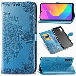 Embossing Imprint Mandala Flower Leather Wallet Case for Xiaomi Mi CC9e - Blue