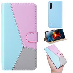 Tricolour Stitching Wallet Flip Cover for Xiaomi Mi CC9e - Blue