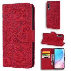 Retro Embossing Mandala Flower Leather Wallet Case for Xiaomi Mi CC9e - Red