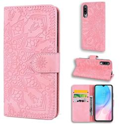 Retro Embossing Mandala Flower Leather Wallet Case for Xiaomi Mi CC9e - Pink