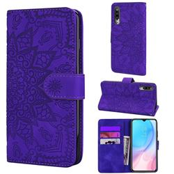 Retro Embossing Mandala Flower Leather Wallet Case for Xiaomi Mi CC9e - Purple