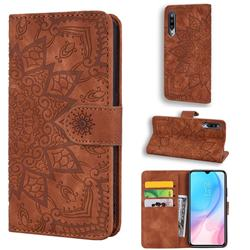 Retro Embossing Mandala Flower Leather Wallet Case for Xiaomi Mi CC9e - Brown