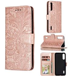 Intricate Embossing Lace Jasmine Flower Leather Wallet Case for Xiaomi Mi CC9e - Rose Gold