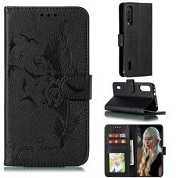 Intricate Embossing Lychee Feather Bird Leather Wallet Case for Xiaomi Mi CC9e - Black