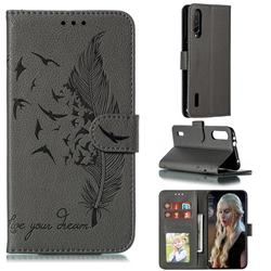 Intricate Embossing Lychee Feather Bird Leather Wallet Case for Xiaomi Mi CC9e - Gray