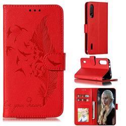 Intricate Embossing Lychee Feather Bird Leather Wallet Case for Xiaomi Mi CC9e - Red