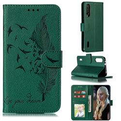 Intricate Embossing Lychee Feather Bird Leather Wallet Case for Xiaomi Mi CC9e - Green