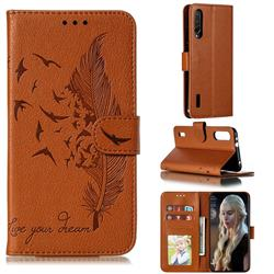 Intricate Embossing Lychee Feather Bird Leather Wallet Case for Xiaomi Mi CC9e - Brown