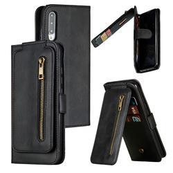Multifunction 9 Cards Leather Zipper Wallet Phone Case for Xiaomi Mi CC9e - Black
