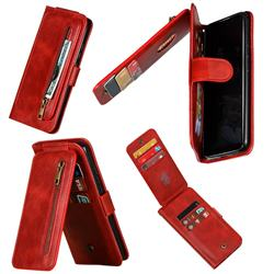 Multifunction 9 Cards Leather Zipper Wallet Phone Case for Xiaomi Mi CC9e - Red