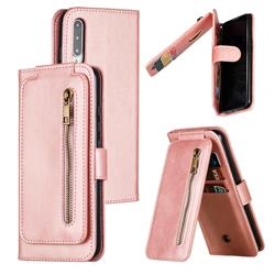 Multifunction 9 Cards Leather Zipper Wallet Phone Case for Xiaomi Mi CC9e - Rose Gold