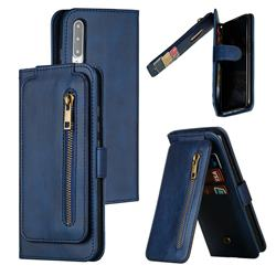 Multifunction 9 Cards Leather Zipper Wallet Phone Case for Xiaomi Mi CC9e - Blue